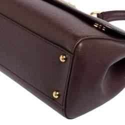 Dolce & Gabbana Plum Leather Medium Miss Sicily Top Handle Bag