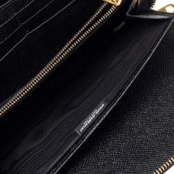 Dolce & Gabbana Black/Brown Leopard Print Coated Canvas Zip Around Wallet Organizer