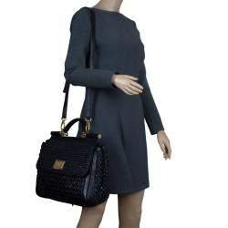 Dolce & Gabbana Black Woven Raffia Miss Sicily Top Handle Bag
