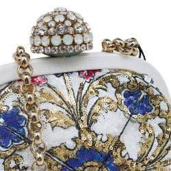 Dolce & Gabbana Multicolor Sequins Frame Convertible Clutch