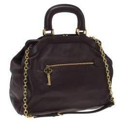 Dolce & Gabbana Choco Brown Leather Key Zipper Top Handle Bag
