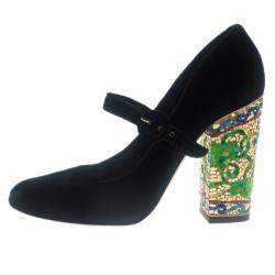 Dolce & Gabbana Black Velvet Embellished Heel Mary Jane Pumps Size 39