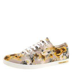 Dolce & Gabbana Beige Floral Printed Canvas Low Top Sneakers Size 37.5