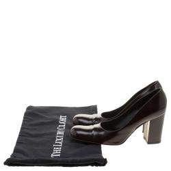 Dolce & Gabbana Dark Brown Patent Leather Block Heel Pumps Size 38