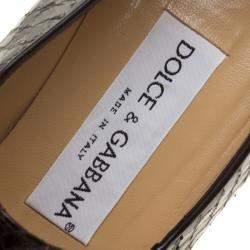 Dolce & Gabbana Black Python Block Heel Pumps Size 38.5