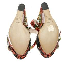 Dolce & Gabbana Multicolor Printed Brocade Peep Toe Ankle Wrap Wedge Sandals Size 39.5