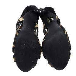 Dolce & Gabbana Beige/Black Leopard Print Calfhair and Suede Sandals Size 37