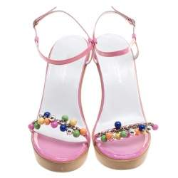 Dolce & Gabbana Pink Patent Leather Beads Embellished Ankle Strap Open Toe Wedge Sandals Size 37.5
