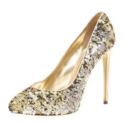 Dolce & Gabbana Metallic Two Tone Sequins Pumps Size 39