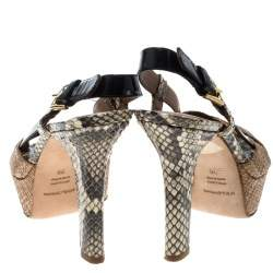 Dolce & Gabbana Beige Raffia and Python Leather Cross Strap Platform Sandals Size 36
