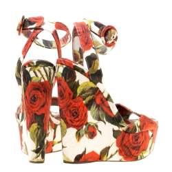 Dolce & Gabbana Multicolor Floral Printed Fabric Platform Wedge Sandals Size 37.5