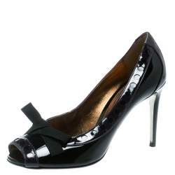 Dolce & Gabbana Black/Purple Patent Leather Peep Toe Bow Pumps Size 40
