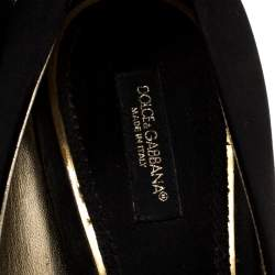 Dolce & Gabbana Black Satin And Lace Bow Peep Toe Pumps Size 39