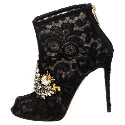 Dolce & Gabbana Black Lace Crystal Embellished Peep Toe Booties Size 38.5