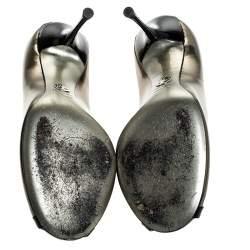 Dolce & Gabbana Gold/Black Patent Leather Peep Toe Pumps Size 40