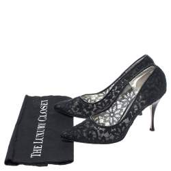 Dolce & Gabbana Black Embroidered Mesh And Leather Trim Pointed Toe Pumps Size 40