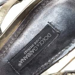 Dolce & Gabbana Metallic Silver/Gold Leather Strappy Platform Sandals Size 39