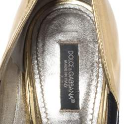 Dolce & Gabbana Black Suede, Python Trim and Metallic Gold Leather Open Toe Pumps Size 39.5