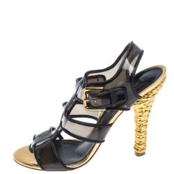 Dolce & Gabbana Black PVC And Leather Strappy Woven Detail Heel Sandals Size 40