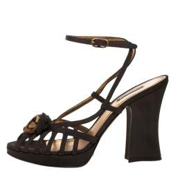 Dolce & Gabbana Olive Green Nylon Fabric Flower Detail Strappy Sandals Size 39.5