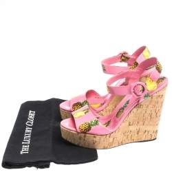Dolce & Gabbana Pink Patent Pineapple Print Cork Platform Wedge Sandals Size 39