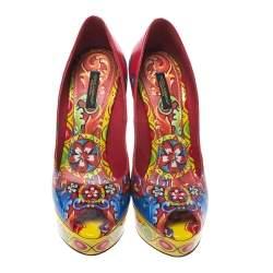 Dolce & Gabbana Multicolor Carretto Siciliano Print Patent Peep Toe Platform Pumps Size 38