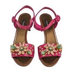 Dolce & Gabbana Lizard Embossed Leather Crystal Embellished Ankle Strap Sandals Size 37