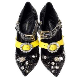 Dolce & Gabbana Black Sequins And Leather Embellished Mary Jane Pumps Size 40
