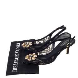Dolce & Gabbana Black Lace Crystal Embellished Slingback Pointed Toe Sandals Size 39.5