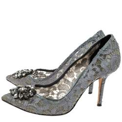 Dolce & Gabbana Grey Mesh and Lace Crystal Embellished Bellucci Pumps Size 39.5