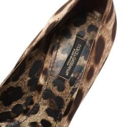 Dolce & Gabbana Brown Animal Print Satin Bow Peep Toe Platform Pumps Size 37.5