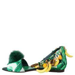 Dolce & Gabbana Multicolor Leather Banana Leafs Crystal Fur Sandals Size 35.5