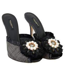 Dolce & Gabbana Black Straw Open Toe Crystal Sandals Size 35
