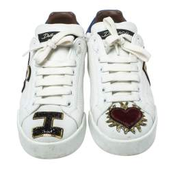 Dolce & Gabbana White Leather Sacred Heart Portofino Lace Up Sneakers Size 35.5