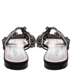 Dolce & Gabbana Brown Nubuck Embellished Flat Thong Sandals Size 41