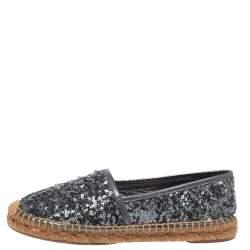 Dolce & Gabbana Metallic Grey Sequin Espadrille Flats Size 36