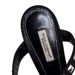 Dolce & Gabbana Black Satin Crystal Studs Embellished Ankle Wrap Sandals Size 36
