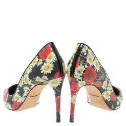 Dolce And Gabbana Multicolor Floral Saffiano Printed Patent Leather Pointed Toe Pumps Size 38