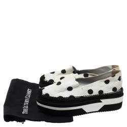 Dolce & Gabbana White Polka Dot Fabric Platform Flats Size 41