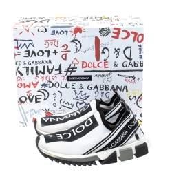 Dolce & Gabbana White/Black Stretch Fabric Logo Sorrento Slip On Sneakers Size 37