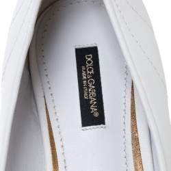 Dolce & Gabbana White Leather Matelasse Devotion Pointed Toe Ballet Flats Size 38