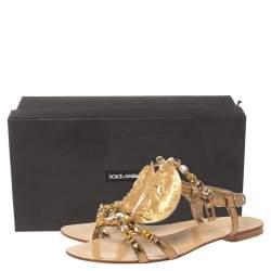 Dolce & Gabbana Metallic Gold Python Embossed Leather Embellished Ayers Flat Sandals Size 38