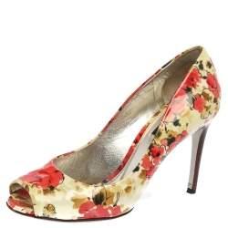 Dolce & Gabbana Multicolor Patent Leather Floral Peep Toe Pumps Size 38