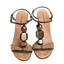 Dolce & Gabbana Brown Leather and Fabric Stone Embellished Sandals Size 40