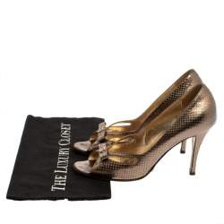Dolce & Gabbana Gold Python Embossed Leather Peep Toe Bow Pumps Size 38