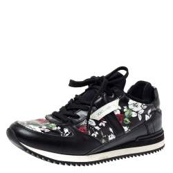Dolce & Gabbana Black Floral Print Leather Low Top Sneakers Size 39