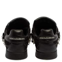 Dolce & Gabbana Black Leather And Lace Crystal Embellished Low Top Sneakers Size 39