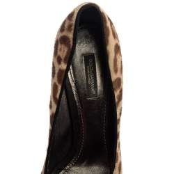 Dolce & Gabbana Two Tone Leopard Print Calf Hair And Suede Leather Peep Toe Pumps Size 38.5