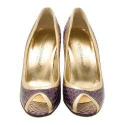 Dolce & Gabbana Purple and Gold Embossed Peep Toe Pumps Size 35