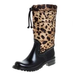Dolce & Gabbana Black/Brown Leopard Print Nylon and Leather Drawstring Mid Length Rain Boots Size 36
